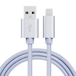 Nylonový lightning datový a napájecí kabel USB - stříbrný