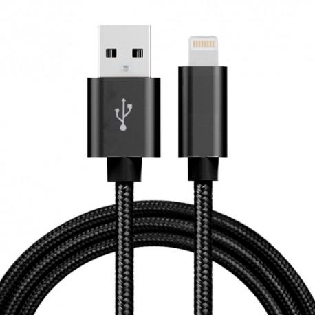 Nylonový lightning datový a napájecí kabel USB - černý