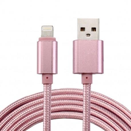 Nylonový lightning datový a napájecí kabel USB - zlatý